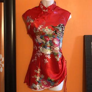 Asian - red silky blouse Mandarin collar NEW